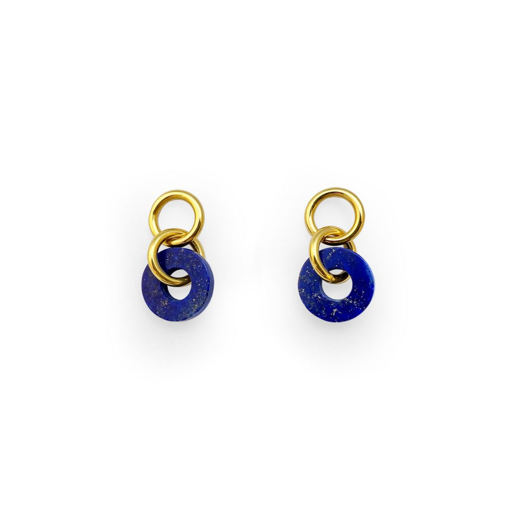 LOOP LAPIS GOLDEN EARRINGS