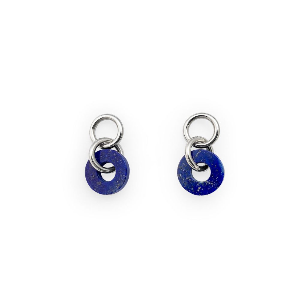 LOOP LAPIS SILVER EARRINGS