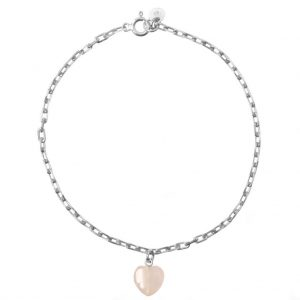 GUILTY PLEASURES SILVER HEART ANKLE BRACELET